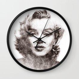 Marilyn portrait 04 Wall Clock