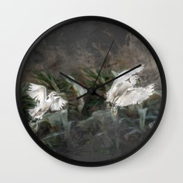 Little herons in flight Wall Clock