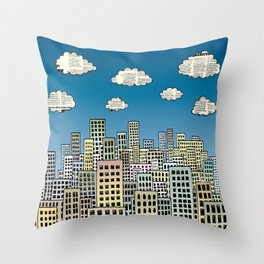 The city of paper clouds Throw Pillow
