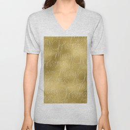 Merry christmas- christmas typography on gold pattern Unisex V-Neck
