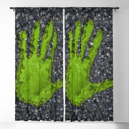 Carbon handprint / 3D render of modern city with handprint shaped park Blackout Curtain