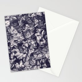 Indigo butterfly photograph duo tone blue and cream Stationery Cards