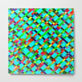 geometric pixel square pattern abstract background in green yellow blue orange Metal Print