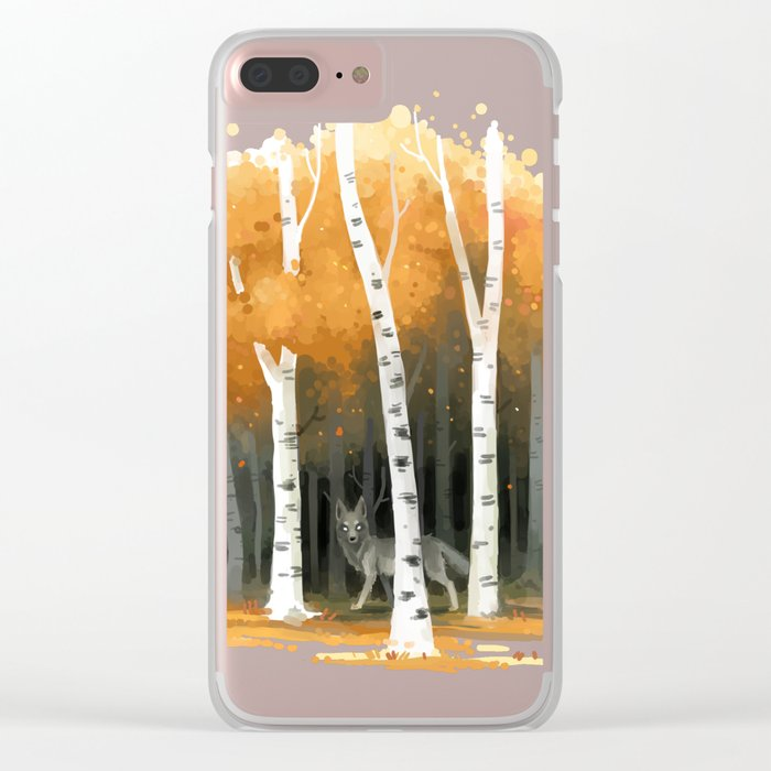 Autumn Wolf Clear iPhone Case