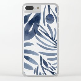 Navy Blue Mystical Watercolor Leaves Clear iPhone Case