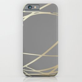 Gold and Gray Circles and Swirls Striped Abstract Pattern iPhone Case