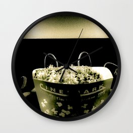 Date Night At The Movies (Black & White) Wall Clock