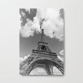 Eiffel Tower - Black and White Metal Print