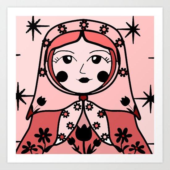 Matryoshka russian doll colorful illustration wall decor - Natasha Art Print