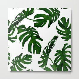 Simply Tropical Palm Leaves in Jungle Green Metal Print