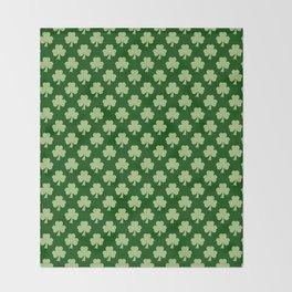 Shamrock Clover Polka dots St. Patrick's Day green pattern Throw Blanket