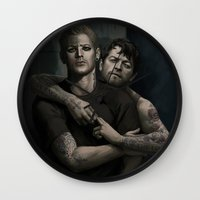 destiel Wall Clocks featuring Destiel. Tattoo AU by Armellin