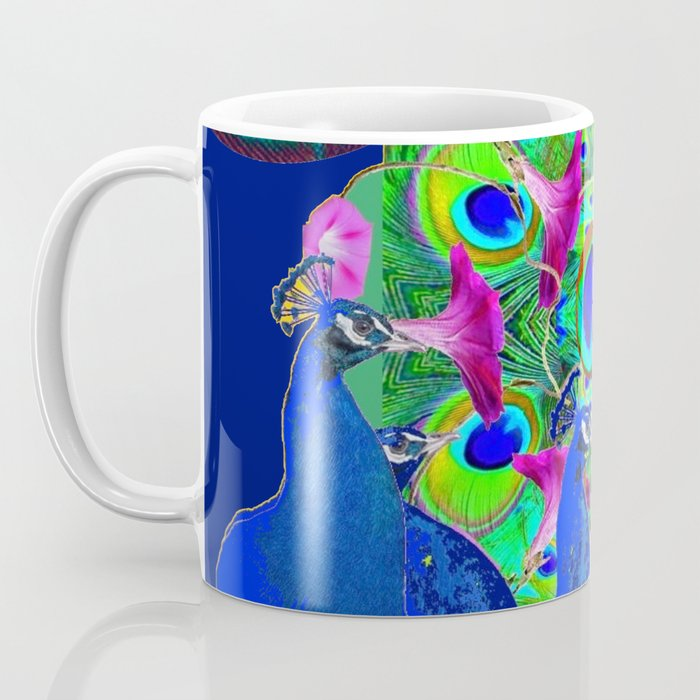 BLUE PEACOCKS & PURPLE MORNING GLORIES Coffee Mug