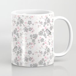 Silver and pink cherry blossom birds Coffee Mug