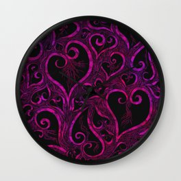 Tendrils of Love xoxo Pink and purple Wall Clock