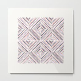 Herringbone Diamonds - Mauve Metal Print