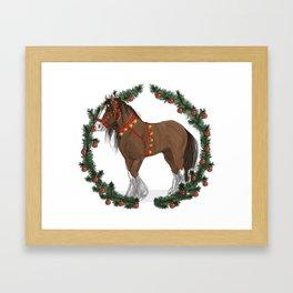Brown Draft Horse in Merry Wreath Framed Art Print