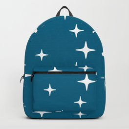 Mid Century Modern Star Pattern 443 Peacock Blue Backpack