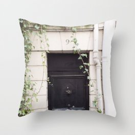 The Black Door at No. 9 Throw Pillow