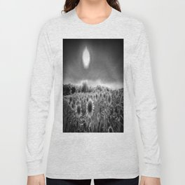 Monochrome Moonlight Sunflowers Long Sleeve T-shirt