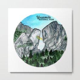 Yosemite National Park Watercolor Metal Print