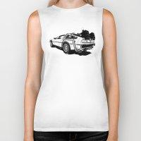 delorean Biker Tanks featuring DeLorean / BW by CranioDsgn