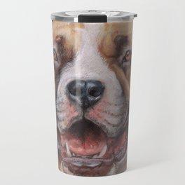 Happy Dog SMILING AMSTAFF FACE Cute pet portrait Pastel drawing Decor for Dog lover Travel Mug