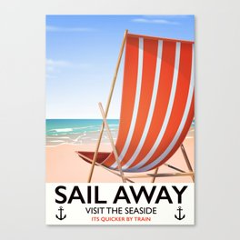 Sail Away Deckchair travel poster Canvas Print