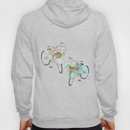 Two Vintage Bicycles With Flower Baskets Hoody