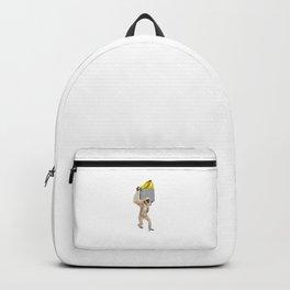 Gibbon Monkey Reaching For Banana In Fake Pocket Cool Animal Pun Backpack