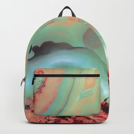 Living Coral and Teal Agate Backpack