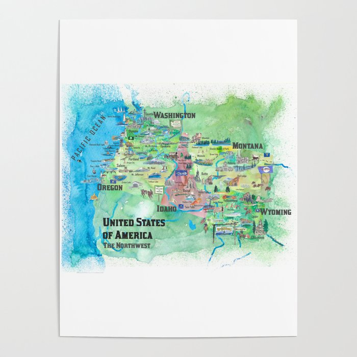 USA Northwest States Illustrated Travel Map Poster by artshop77