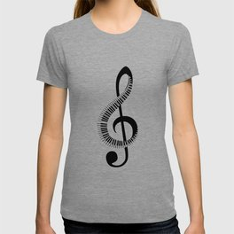Treble clef sign with piano keyboard T-shirt