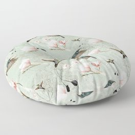 Vintage Watercolor hummingbird and Magnolia Flowers on mint Background Floor Pillow
