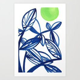 Navy blue and lime green abstract leaves Art Print