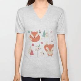 Baby fox pattern 01 Unisex V-Neck