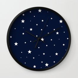 Scattered Stars White on Midnight Blue Wall Clock