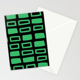 Mid Century Modern Abstract Squares Pattern 541 Black and Green Stationery Cards