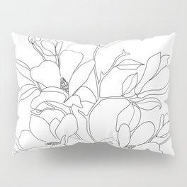 Minimal Line Art Magnolia Flowers Pillow Sham