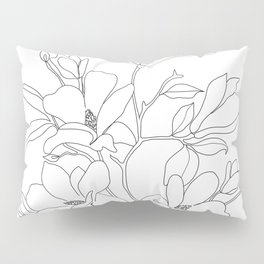 Minimal Line Art Magnolia Flowers Pillow Sham