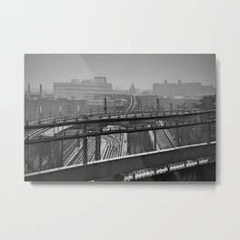 Tales of a Subway Train in Black and White Metal Print