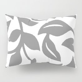LEAF PALM SWIRL IN GRAY AND WHITE Pillow Sham