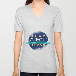 Flat Earth Space Unisex V-Neck