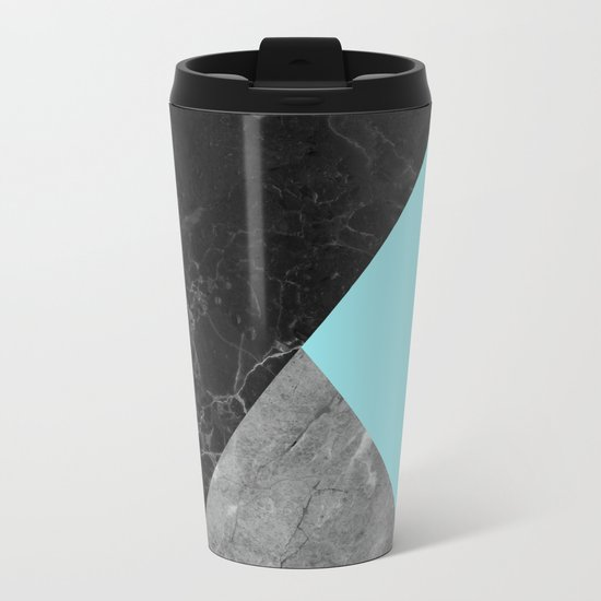 Black and white marbles and pantone island paradise color Metal Travel Mug