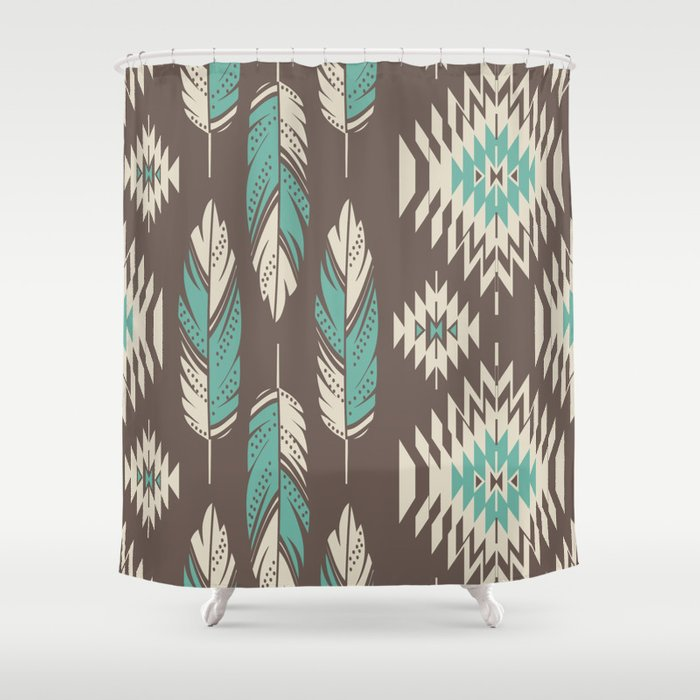 Beau Native Roots   Turquoise U0026 Brown Shower Curtain