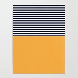 Mustard & Navy Blue Half Striped Poster