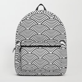 Japanese Waves (Grey & White Pattern) Backpack