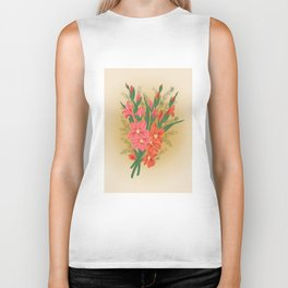 Bouquet of pink and red gladioluses Biker Tank