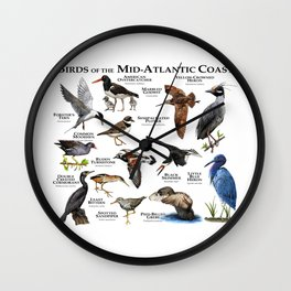 Birds of the Mid-Atlantic Coast Wall Clock