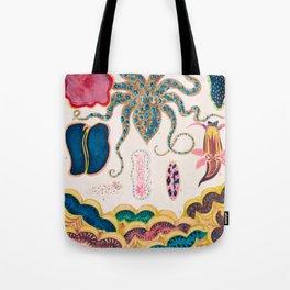 Octopus Molluscs and Planarian Vintage Sealife Illustration Tote Bag